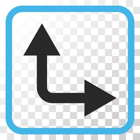 bifurcation: Bifurcation Arrow Right Up blue and gray vector icon. Image style is a flat iconic symbol inside a rounded square frame on a transparent background.