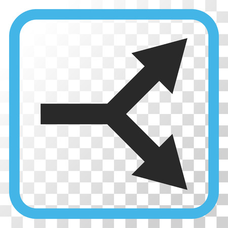 bifurcation: Bifurcation Arrow Right blue and gray vector icon. Image style is a flat icon symbol inside a rounded square frame on a transparent background.
