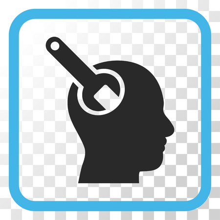 Brain Tool blue and gray vector icon. Image style is a flat pictogram symbol in a rounded square frame on a transparent background.
