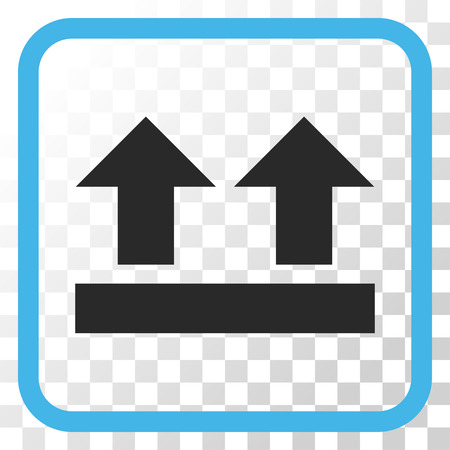 bring: Bring Up blue and gray vector icon. Image style is a flat pictograph symbol in a rounded square frame on a transparent background.