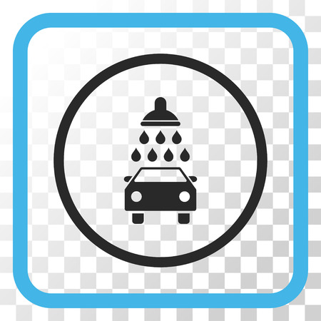 antiseptic: Car Shower blue and gray vector icon. Image style is a flat pictogram symbol inside a rounded square frame on a transparent background.