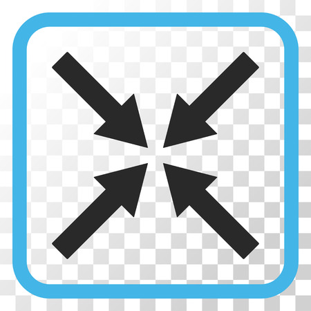 collide: Center Arrows blue and gray vector icon. Image style is a flat icon symbol in a rounded square frame on a transparent background.
