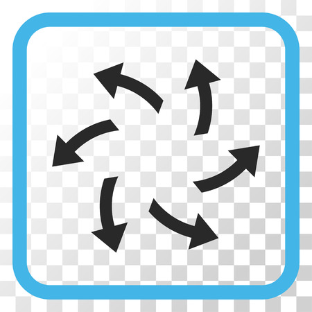 Centrifugal Arrows blue and gray vector icon. Image style is a flat iconic symbol inside a rounded square frame on a transparent background. Illustration