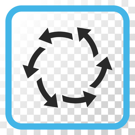 Centrifugal Arrows blue and gray vector icon. Image style is a flat icon symbol inside a rounded square frame on a transparent background. Illustration