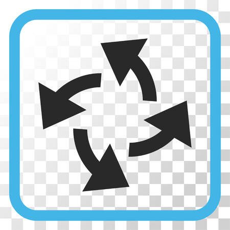 Centrifugal Arrows blue and gray vector icon. Image style is a flat pictograph symbol in a rounded square frame on a transparent background. Illustration