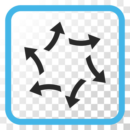 Centrifugal Arrows blue and gray vector icon. Image style is a flat iconic symbol in a rounded square frame on a transparent background. Illustration