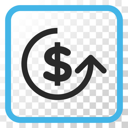 reverse: Chargeback blue and gray vector icon. Image style is a flat icon symbol in a rounded square frame on a transparent background.