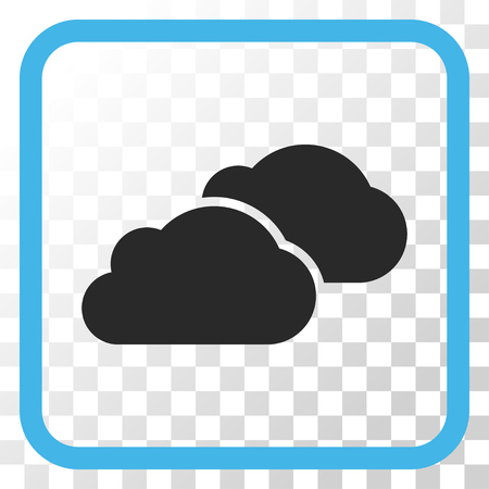 saas: Clouds blue and gray vector icon. Image style is a flat pictograph symbol in a rounded square frame on a transparent background. Illustration