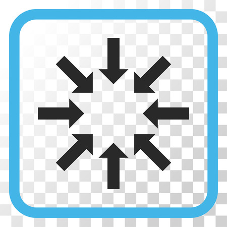 Collapse Arrows blue and gray vector icon. Image style is a flat pictogram symbol in a rounded square frame on a transparent background.