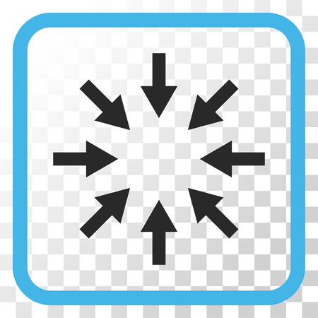 Compact Arrows blue and gray vector icon. Image style is a flat pictograph symbol in a rounded square frame on a transparent background.
