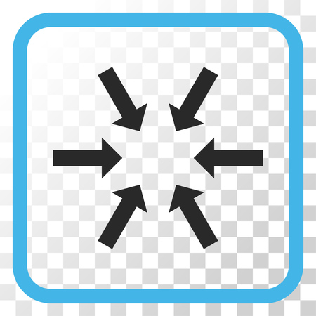 Compact Arrows blue and gray vector icon. Image style is a flat pictogram symbol inside a rounded square frame on a transparent background.