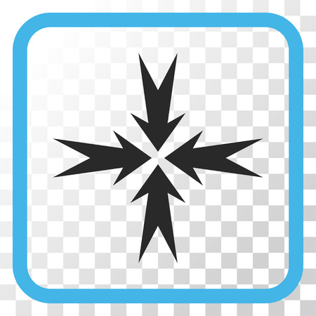 compression: Compression Arrows blue and gray vector icon. Image style is a flat pictograph symbol in a rounded square frame on a transparent background.