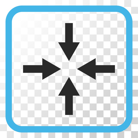 collide: Compress Arrows blue and gray vector icon. Image style is a flat iconic symbol in a rounded square frame on a transparent background. Illustration