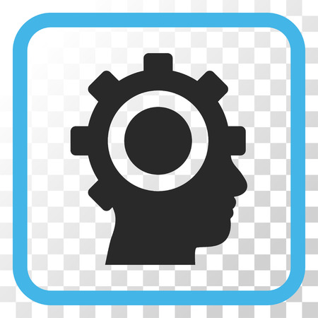 robo: Cyborg Gear blue and gray vector icon. Image style is a flat pictograph symbol inside a rounded square frame on a transparent background. Illustration