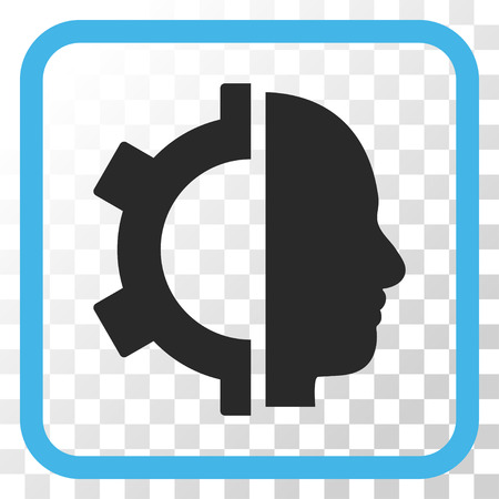 robo: Cyborg Gear blue and gray vector icon. Image style is a flat iconic symbol in a rounded square frame on a transparent background. Illustration