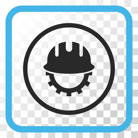 hardhat: Development Hardhat blue and gray vector icon. Image style is a flat iconic symbol inside a rounded square frame on a transparent background.