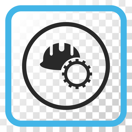 hardhat: Development Hardhat blue and gray vector icon. Image style is a flat pictograph symbol in a rounded square frame on a transparent background.
