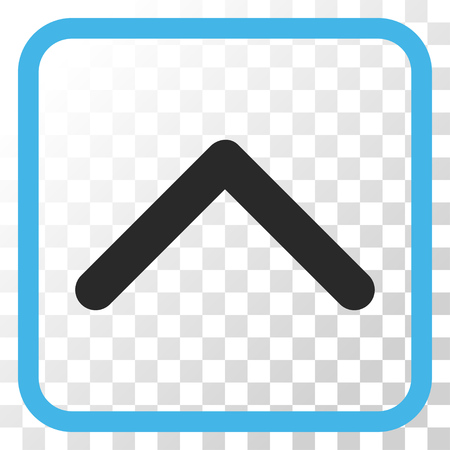 Direction Up blue and gray vector icon. Image style is a flat pictogram symbol inside a rounded square frame on a transparent background.