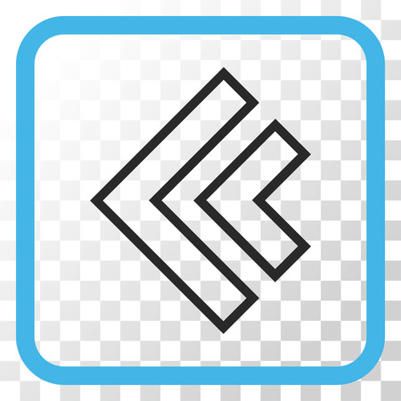 redirect: Direction Left blue and gray vector icon. Image style is a flat icon symbol inside a rounded square frame on a transparent background. Illustration
