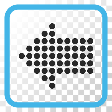 frame less: Dotted Arrow Left blue and gray vector icon. Image style is a flat pictograph symbol in a rounded square frame on a transparent background.