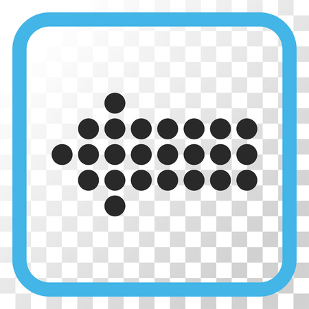 frame less: Dotted Arrow Left blue and gray vector icon. Image style is a flat iconic symbol in a rounded square frame on a transparent background.