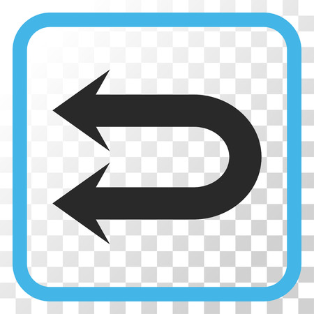 Double Left Arrow blue and gray vector icon. Image style is a flat iconic symbol inside a rounded square frame on a transparent background.