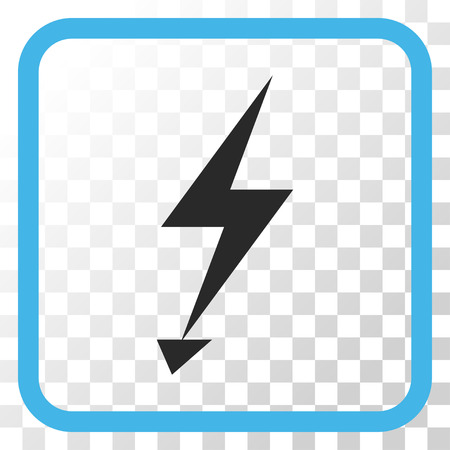 Electric Strike blue and gray vector icon. Image style is a flat pictograph symbol inside a rounded square frame on a transparent background.