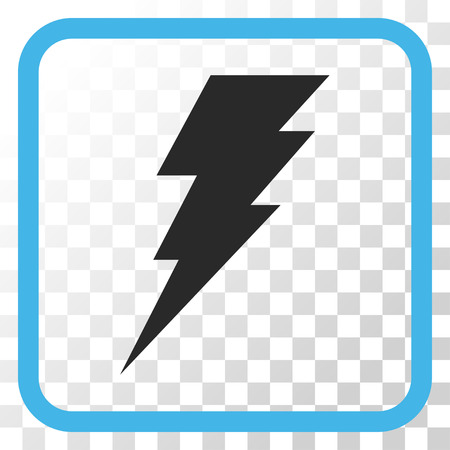 execute: Execute blue and gray vector icon. Image style is a flat pictogram symbol inside a rounded square frame on a transparent background. Illustration