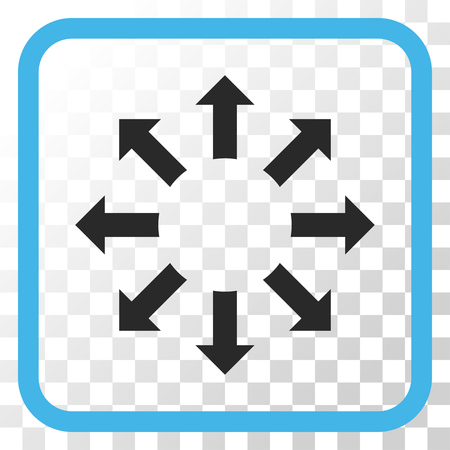 Expand Arrows blue and gray vector icon. Image style is a flat pictogram symbol inside a rounded square frame on a transparent background.