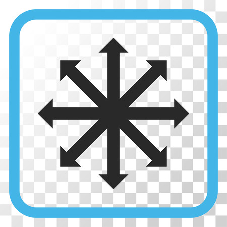 Expand Arrows blue and gray vector icon. Image style is a flat pictogram symbol in a rounded square frame on a transparent background. Illustration