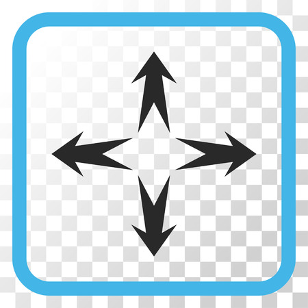 Expand Arrows blue and gray vector icon. Image style is a flat iconic symbol inside a rounded square frame on a transparent background.