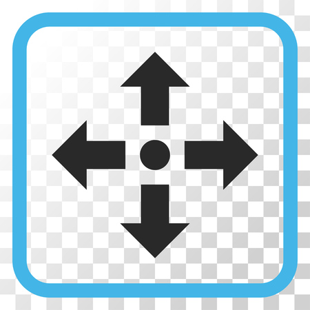 Expand Arrows blue and gray vector icon. Image style is a flat icon symbol in a rounded square frame on a transparent background.