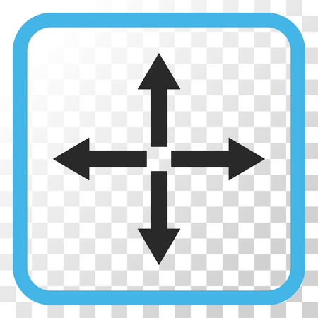 Expand Arrows blue and gray vector icon. Image style is a flat pictograph symbol in a rounded square frame on a transparent background.