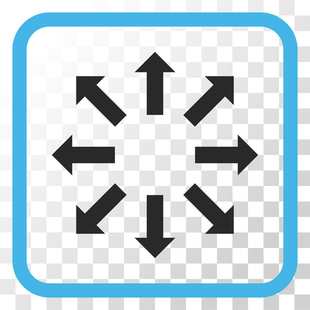 Explode Arrows blue and gray vector icon. Image style is a flat iconic symbol in a rounded square frame on a transparent background.