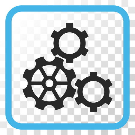 Gears blue and gray vector icon. Image style is a flat icon symbol in a rounded square frame on a transparent background.