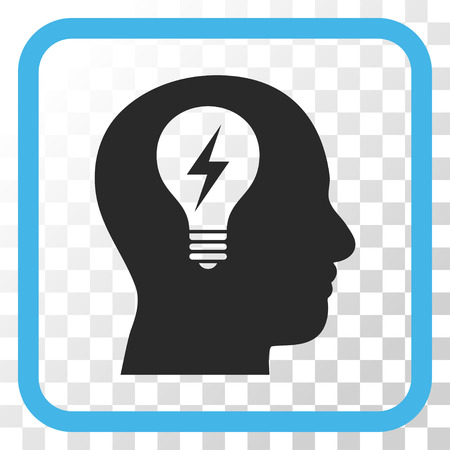 gray bulb: Head Bulb blue and gray vector icon. Image style is a flat icon symbol in a rounded square frame on a transparent background.