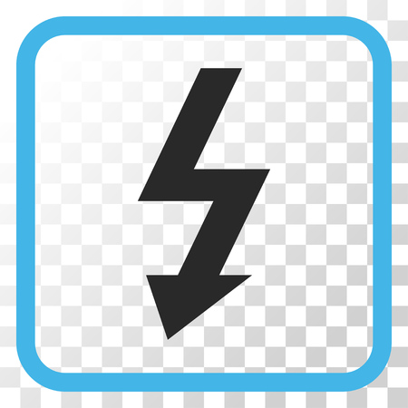voltage symbol: High Voltage blue and gray vector icon. Image style is a flat pictograph symbol in a rounded square frame on a transparent background. Illustration