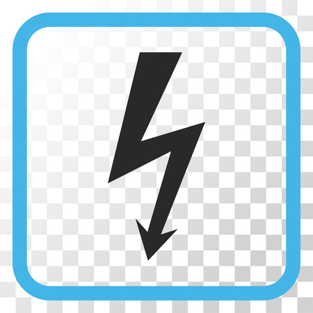 high voltage symbol: High Voltage blue and gray vector icon. Image style is a flat icon symbol in a rounded square frame on a transparent background.