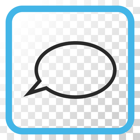 hint: Hint Cloud blue and gray vector icon. Image style is a flat pictograph symbol inside a rounded square frame on a transparent background. Illustration