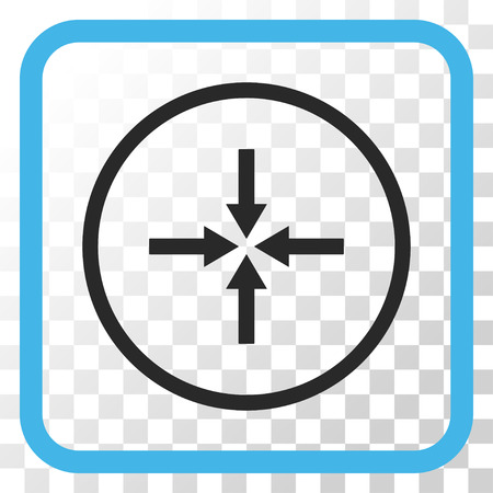 shrink: Impact Arrows blue and gray vector icon. Image style is a flat icon symbol inside a rounded square frame on a transparent background. Illustration