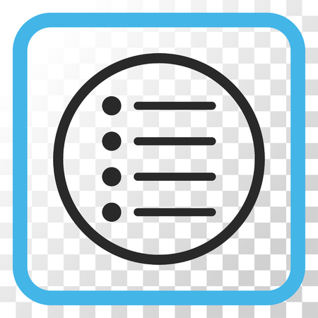 Items blue and gray vector icon. Image style is a flat icon symbol inside a rounded square frame on a transparent background.