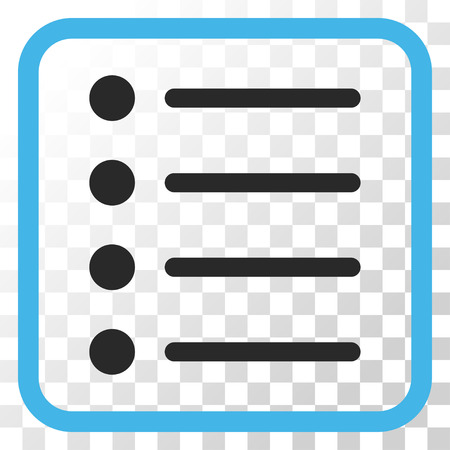item list: Items blue and gray vector icon. Image style is a flat pictograph symbol in a rounded square frame on a transparent background.