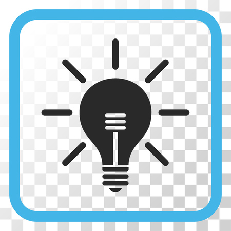 gray bulb: Light Bulb blue and gray vector icon. Image style is a flat pictogram symbol inside a rounded square frame on a transparent background.