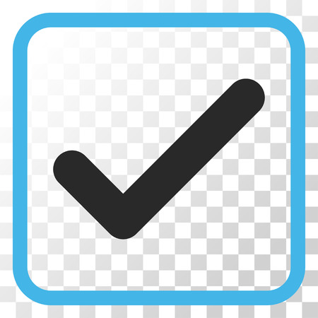 Ok blue and gray vector icon. Image style is a flat pictograph symbol inside a rounded square frame on a transparent background.