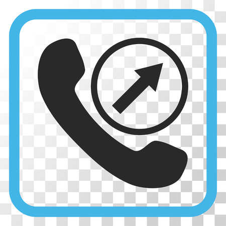 outgoing: Outgoing Call blue and gray vector icon. Image style is a flat icon symbol inside a rounded square frame on a transparent background.