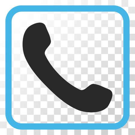 phone receiver: Phone Receiver blue and gray vector icon. Image style is a flat pictograph symbol in a rounded square frame on a transparent background. Illustration