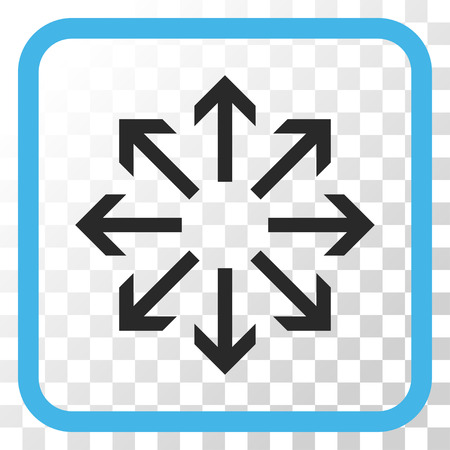 Radial Arrows blue and gray vector icon. Image style is a flat pictogram symbol in a rounded square frame on a transparent background.