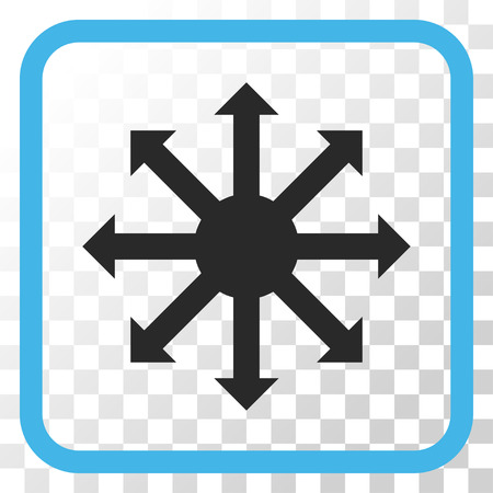 Radial Arrows blue and gray vector icon. Image style is a flat pictograph symbol inside a rounded square frame on a transparent background. Illustration