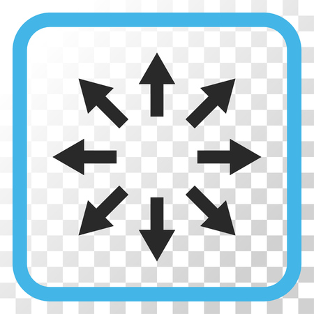 Radial Arrows blue and gray vector icon. Image style is a flat pictogram symbol inside a rounded square frame on a transparent background. Illustration