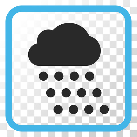 watery: Rain Cloud blue and gray vector icon. Image style is a flat pictogram symbol in a rounded square frame on a transparent background.